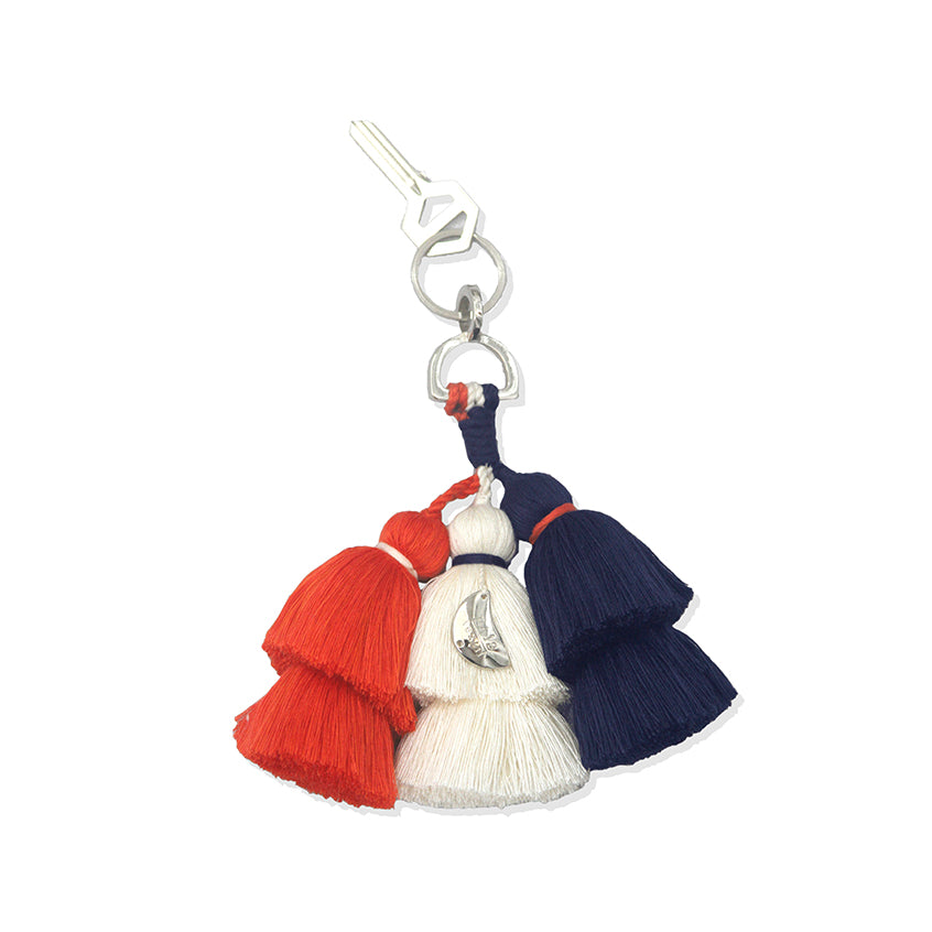 Orange, White and Navy Keychain