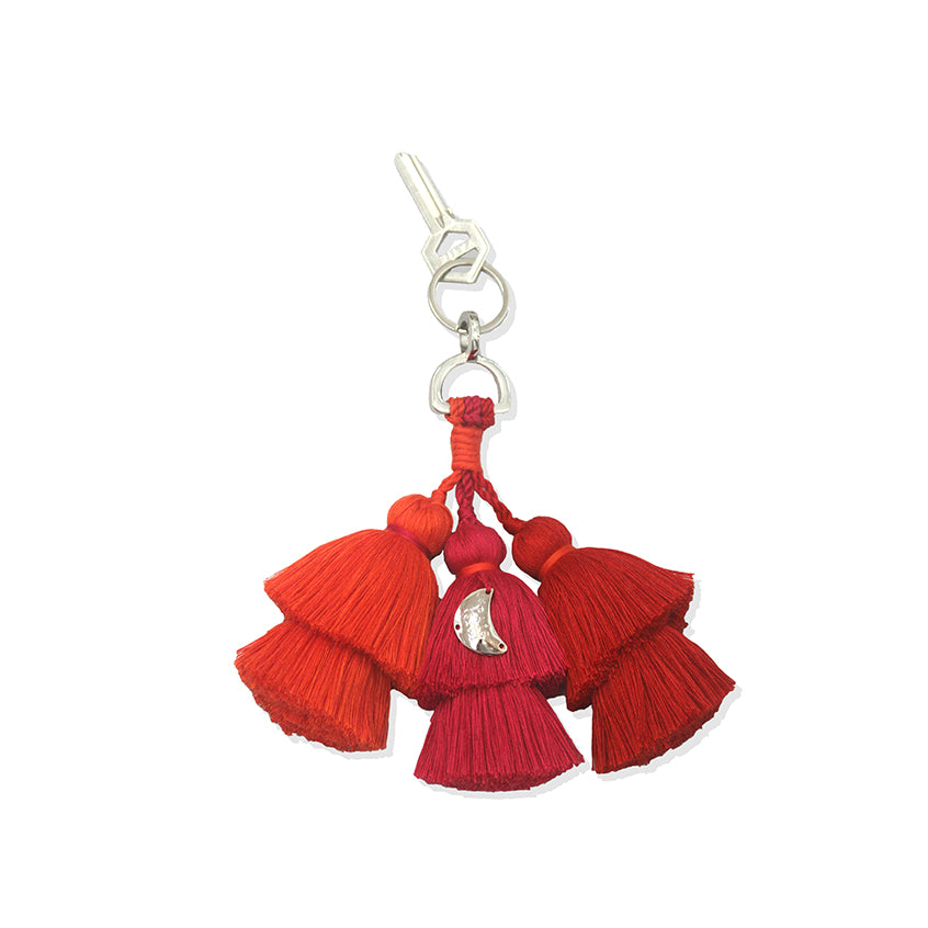 Pais Textil Orange, Pink and Red Tassel Keychain