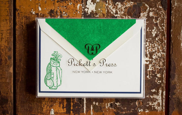 Letterpress Golf Bag Note Cards