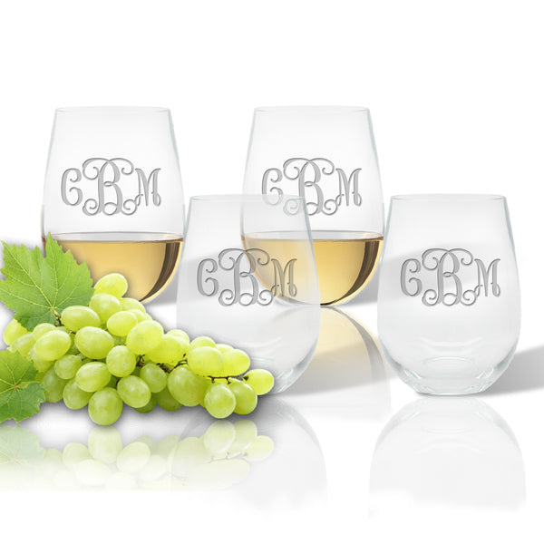 Stemless Etched Wine Tumblers
