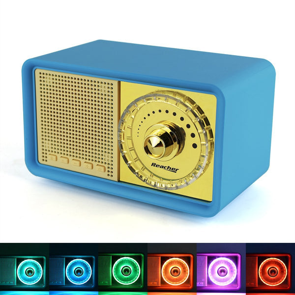 Reacher Retro Blue Bluetooth Speakers with Color Changeable Night Light