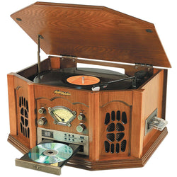 Nostalgia Stereo with Turntable, Cassette, Radio, CD & MP3 Player OAK