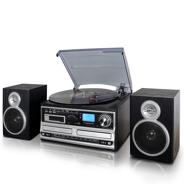 Trexonic 3-Speed Turntable With CD Player, Cassette Player and CD Recorder, Wired Shelf Speakers, FM Radio & CD/USB/SD Recording