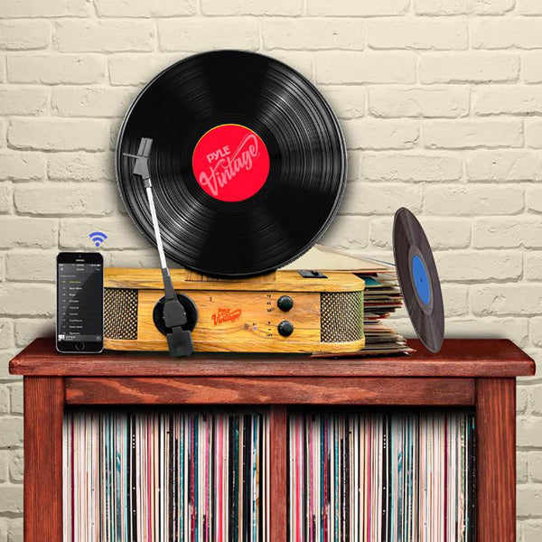 Vintage Nostalgia Vertical Standing Turntable with Bluetooth