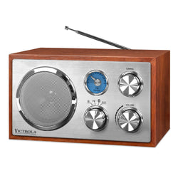 Nostalgia Victrola Wooden Desktop FM Radio with Bluetooth