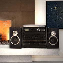 Shelf Stereo System With CD, Turntable, Dual Cassette Player