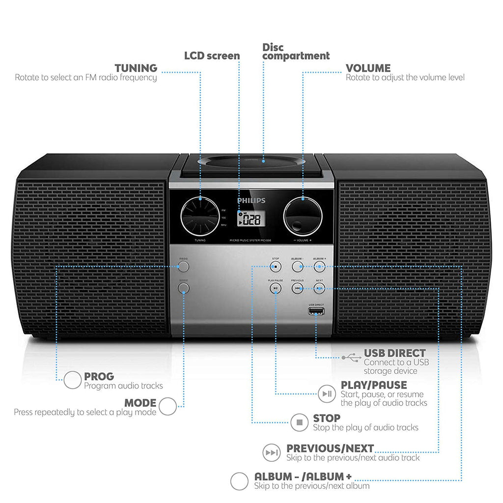Philips Portable Micro Hi-Fi Music Sound System, CD Player, MP3-CD, CD and  CD-R/RW, Dynamic Mega Bass Stereo Boost Speaker, USB Direct Input, and FM