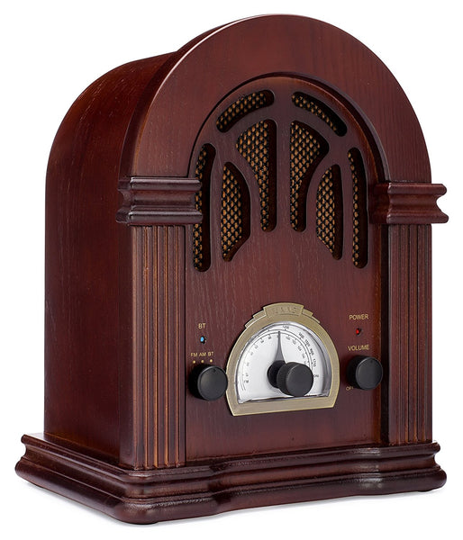 ClearClick Retro AM/FM Radio with Bluetooth & Classic Wooden Vintage Style Design