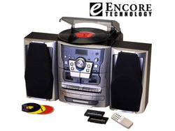 Encore Shelf Stereo System With Turntable, 3 CD Dual Cassette Player Recorder