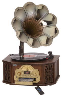 Nostalgia 5-in-1 Gramophone with CD, AM/FM Radio, Turntable, Bluetooth & USB