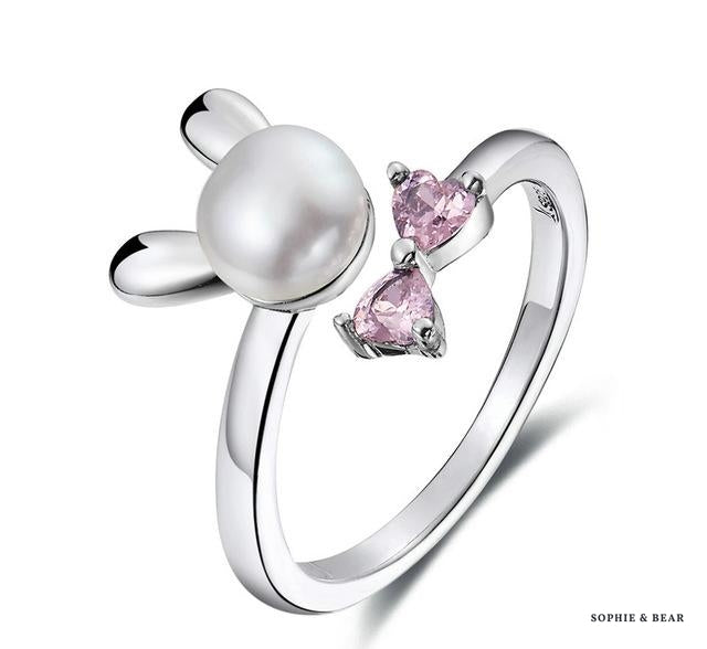 Siberia - 925 Silver Pink Bunny Ring