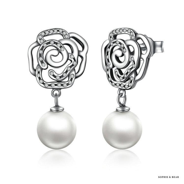 Siberia - Rose Pearl Silver Earrings