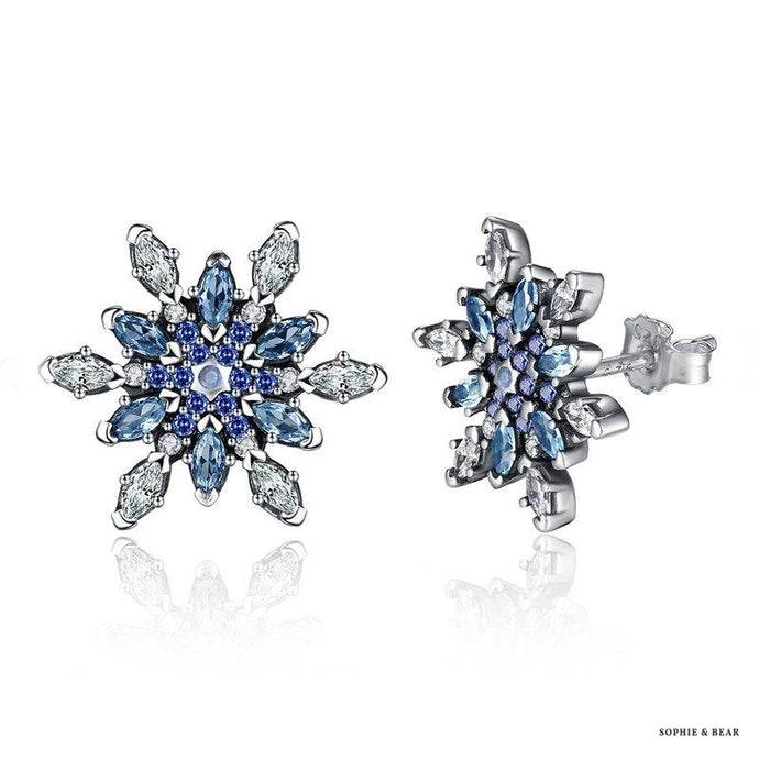 Siberia - 925 Silver Blue Snowflake Earrings