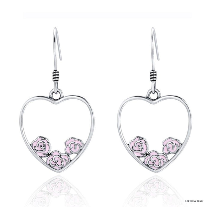 Siberia -  Silver Rose Heart Shape Earrings