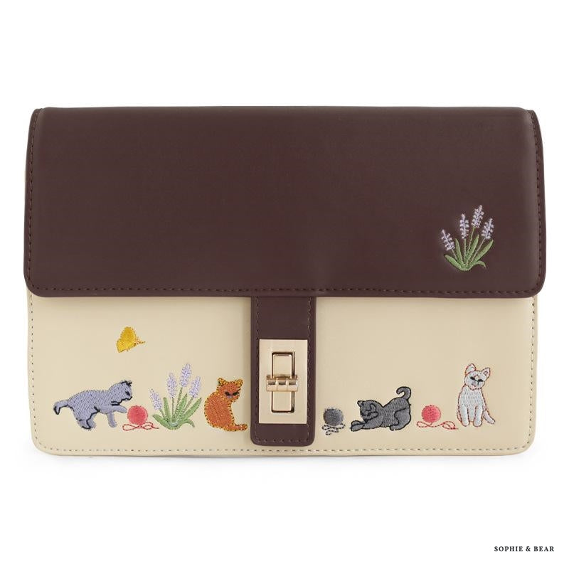 Emilie - Cat Embroidery Messenger Bag