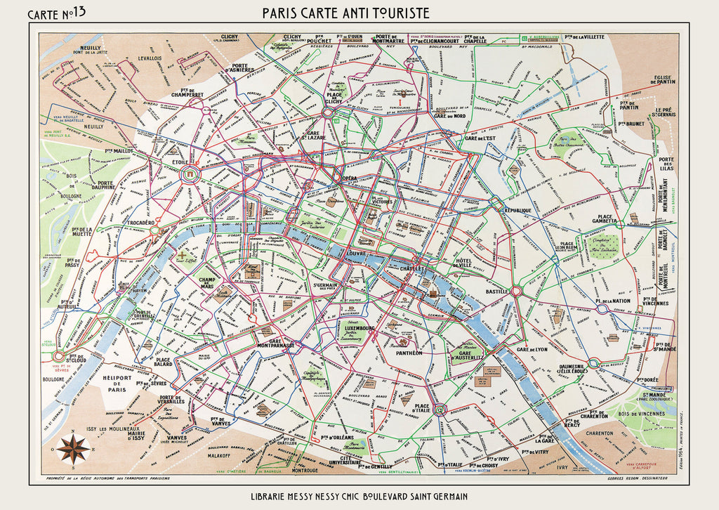 graphic relating to Printable Maps of Paris known as Anti-Vacationer Paris Map Print