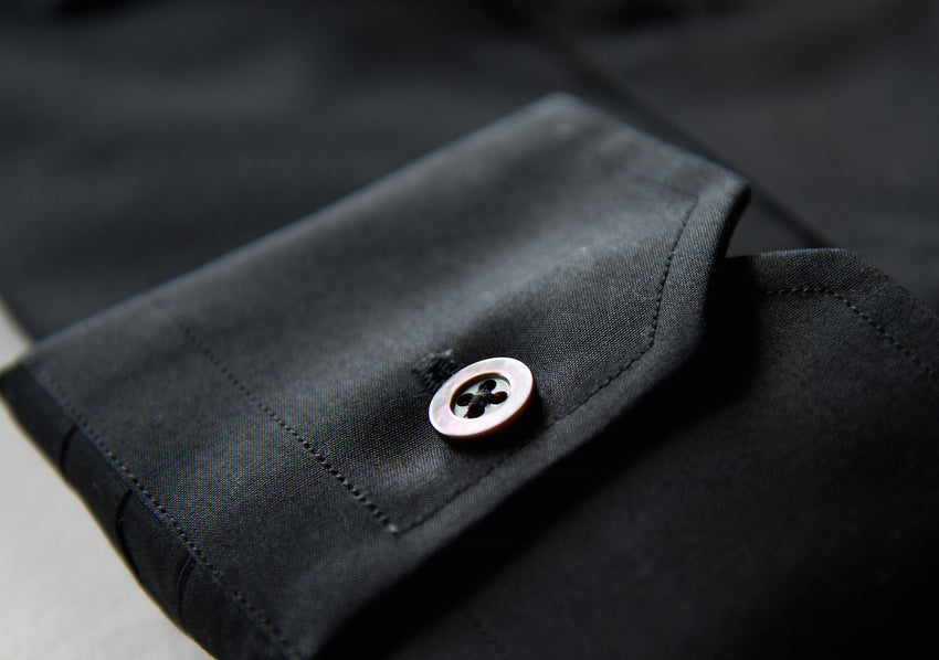 Iconic Black Cutaway Collar Shirt