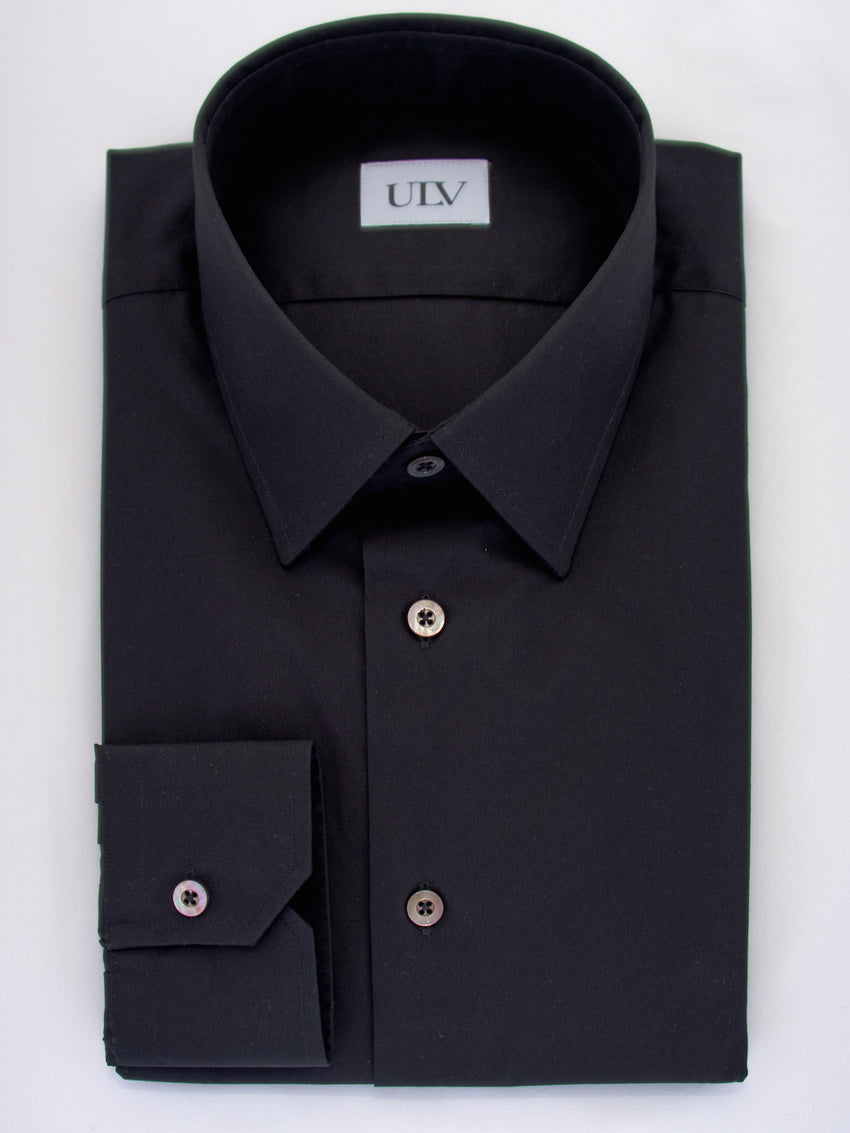 Iconic Black Point Collar Shirt with Barrel Cuff