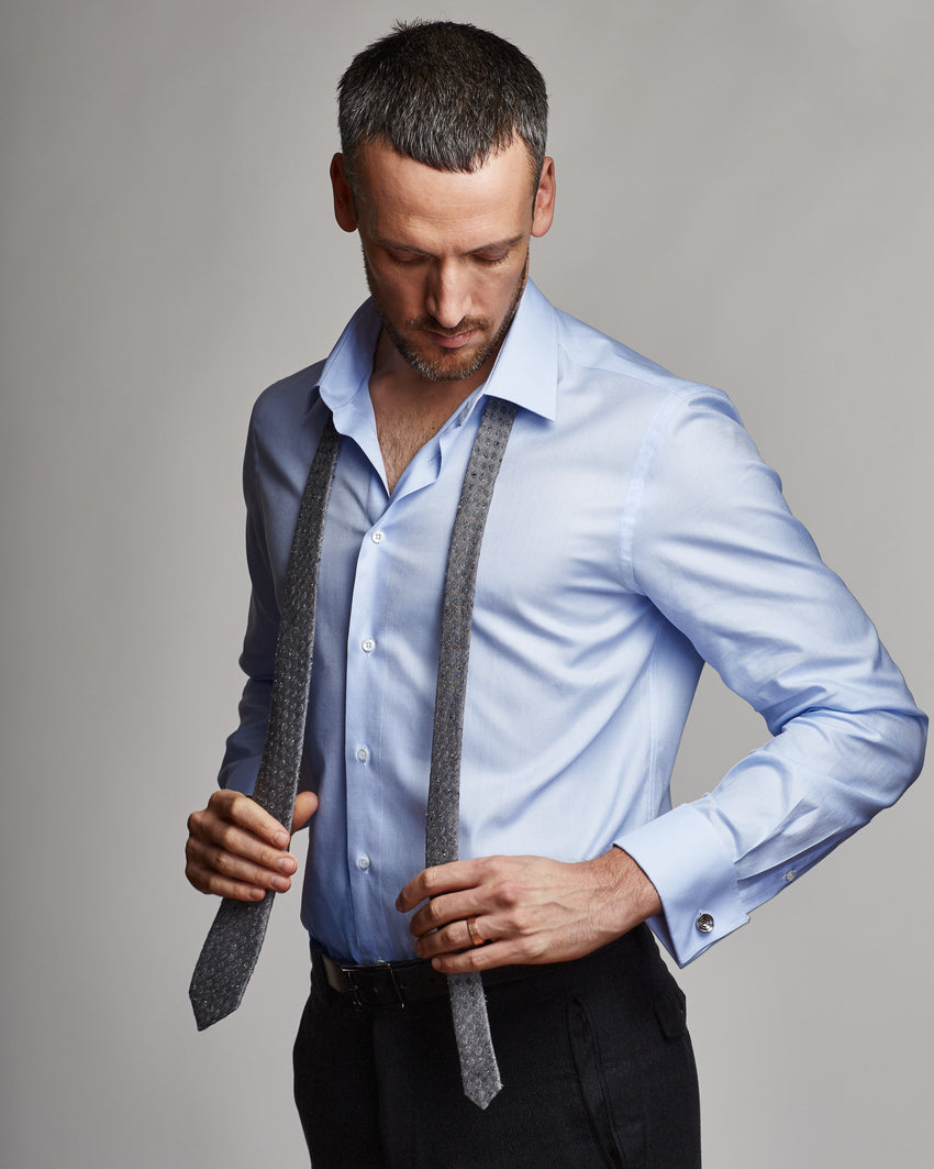 Bio-Cotton Blue Oxford Shirt with Double Cuff