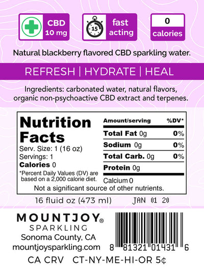 Mountjoy Sparkling CBD Blackberry 16 oz 24 Pack