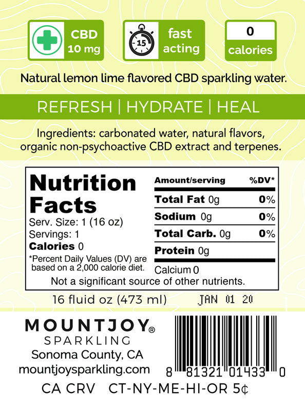 Back Label Mountjoy Sparkling Lemon Lime CBD