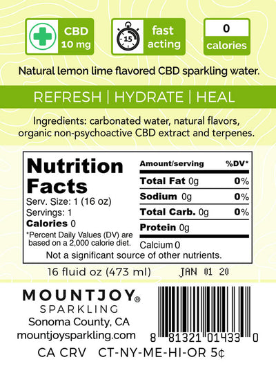 Mountjoy Sparkling CBD Lemon Lime 16 oz 24 Pack