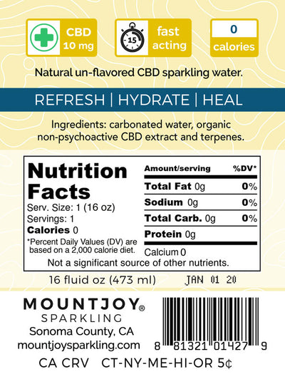 Mountjoy Sparkling CBD Natural 16 oz 24 Pack