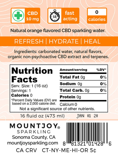 Back Label Mountjoy Sparkling Orange CBD