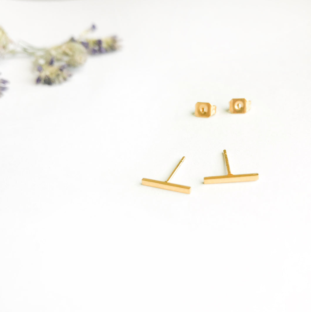Gold Skinny Bar Balance Victoria Earrings