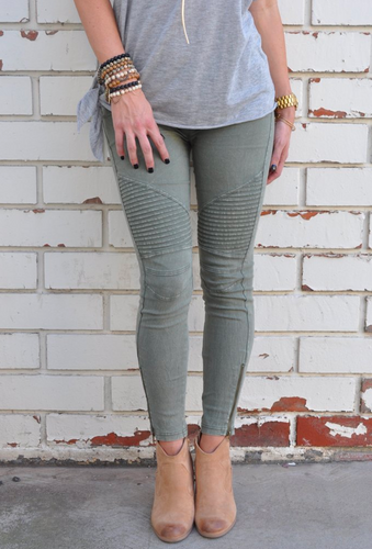 Motorcycle Jeggings Olive