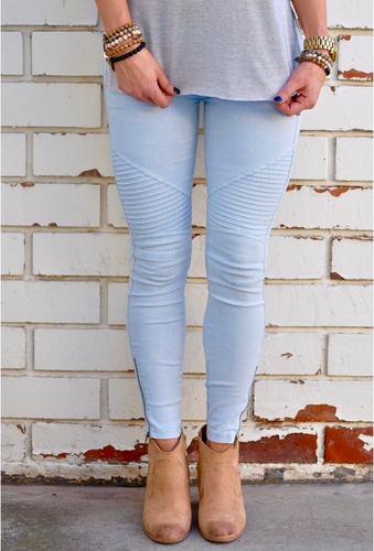 Motorcycle Jeggings Light Blue