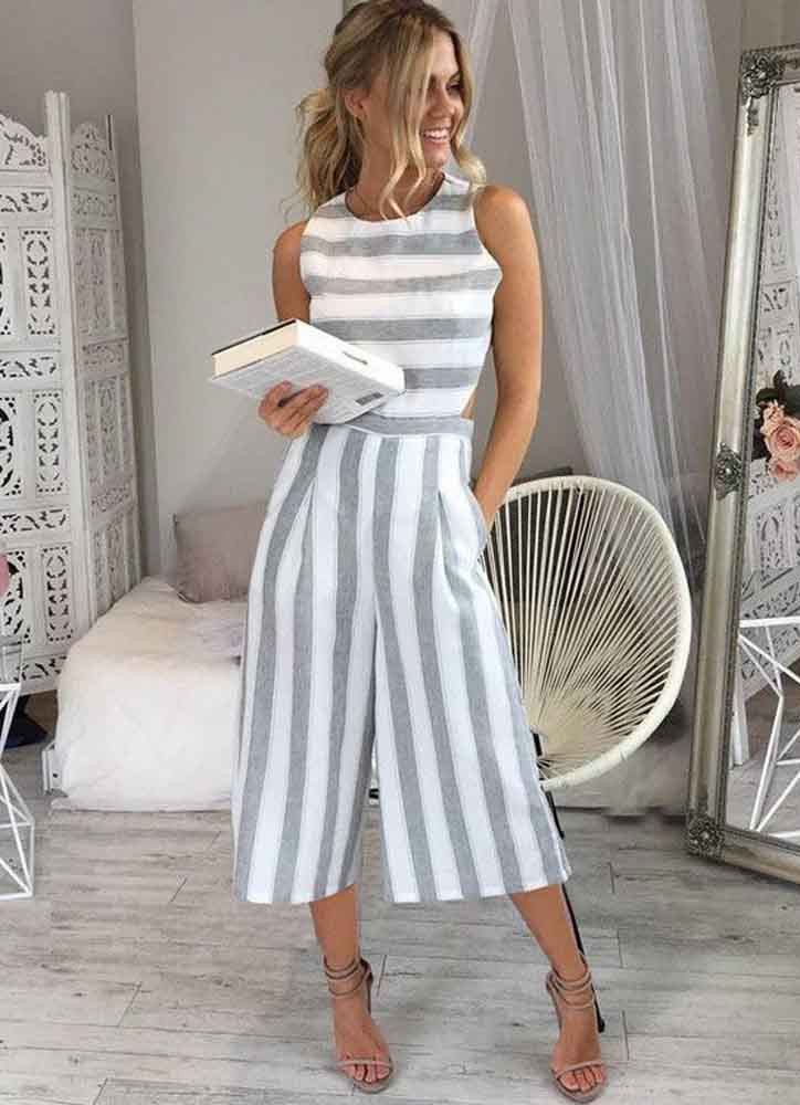 Olivia Striped Romper