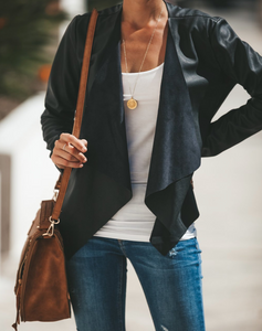 Up All Night Faux Leather Black Jacket