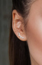 Silver Antler Stud Victoria Earrings