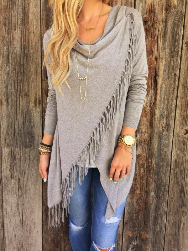 Olivia Shawl Grey Tassel Sweater
