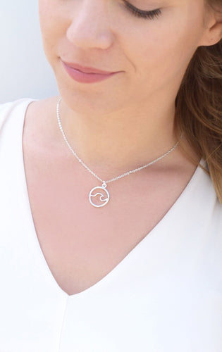 Ocean Wave Necklace Silver Gold Rose Gold Victoria Collection