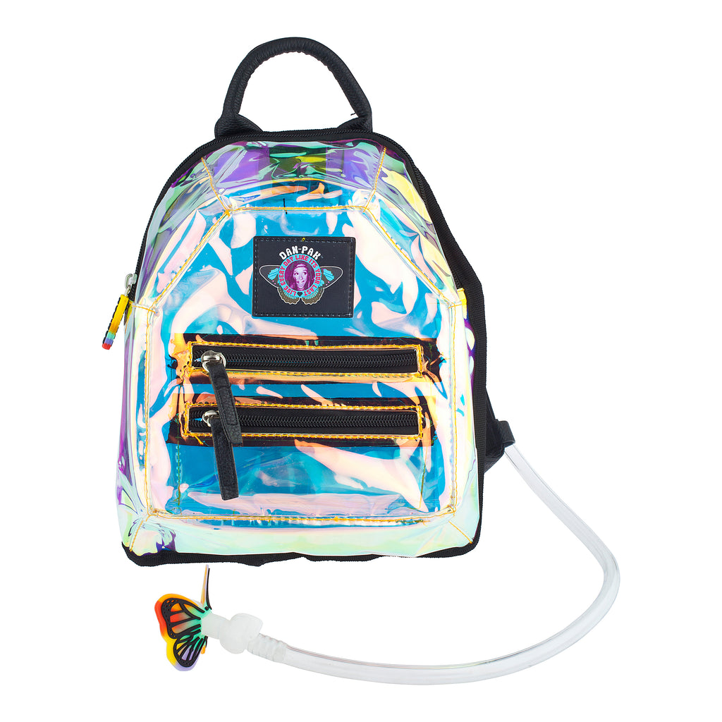 Clear Mini - Dan-Pak hydration packs for raves music festivals camping hiking. Awesome gear for edm lifestyle. Hydro pack, water pack, dan-pack, dan pak, dan pack, danpakbags, dan pak bags, backpack, rave