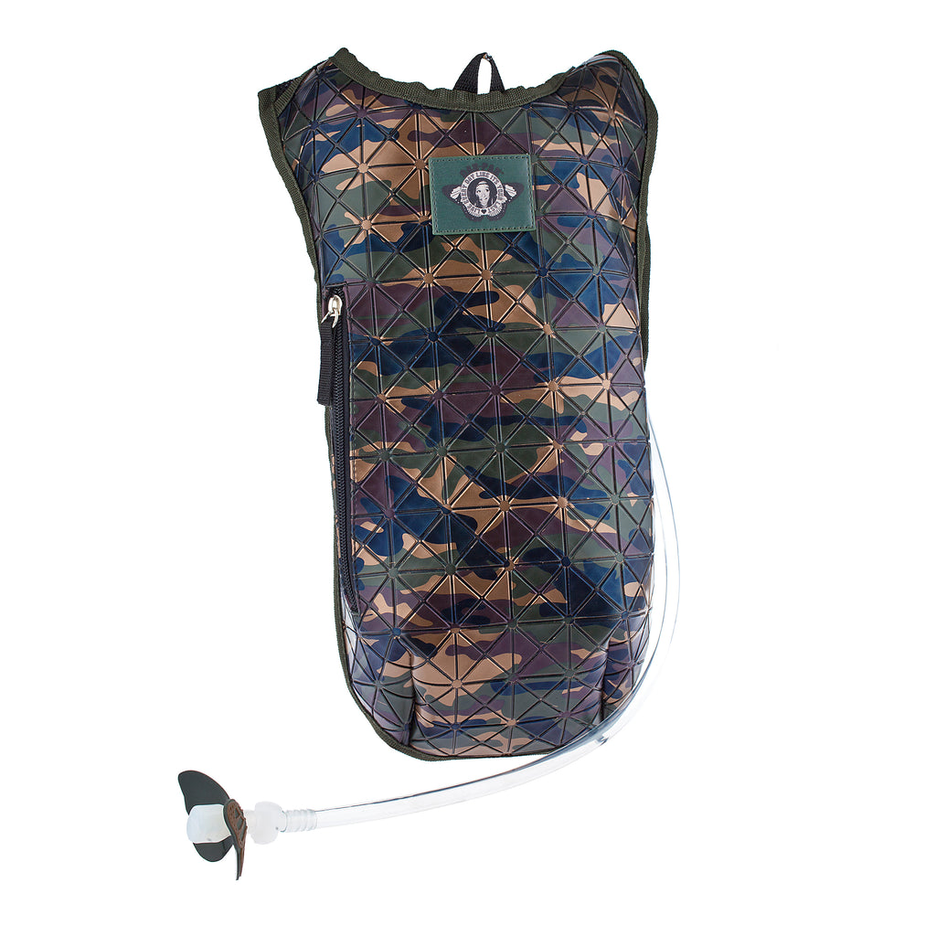Campground Camo Green - Dan-Pak hydration packs for raves music festivals camping hiking. Awesome gear for edm lifestyle. Hydro pack, water pack, dan-pack, dan pak, dan pack, danpakbags, dan pak bags, backpack, rave