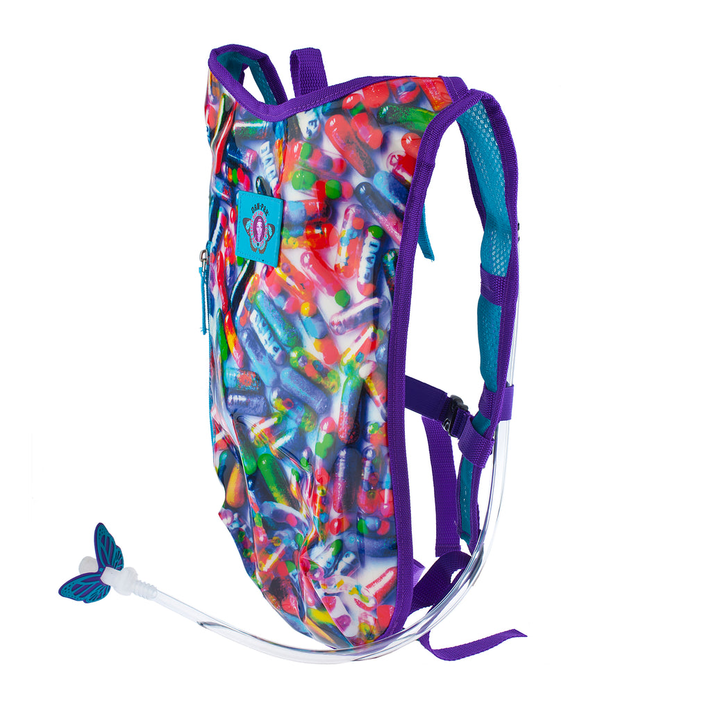 GLITTER PILLS - Dan-Pak hydration packs for raves music festivals camping hiking. Awesome gear for edm lifestyle. Hydro pack, water pack, dan-pack, dan pak, dan pack, danpakbags, dan pak bags, backpack, rave
