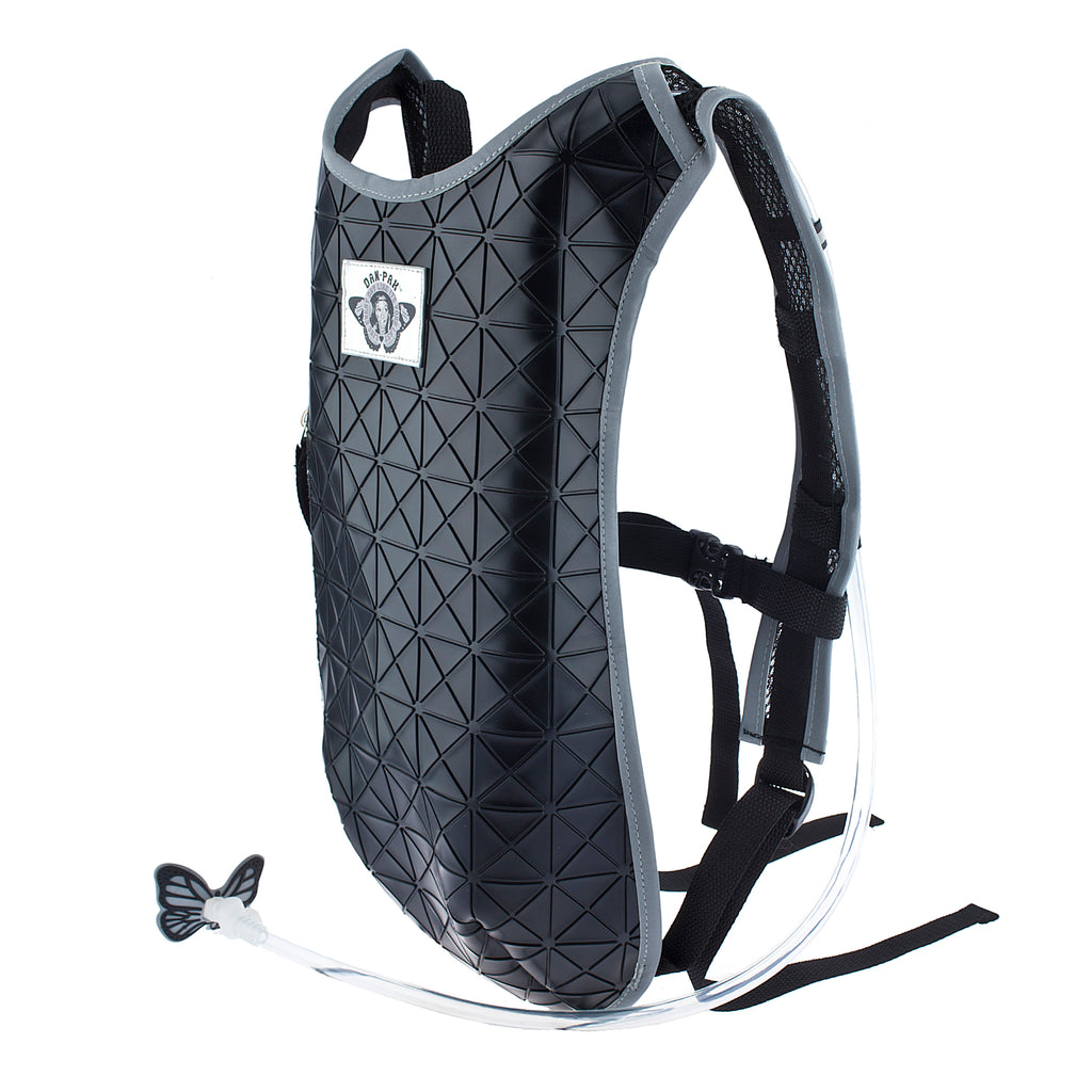 BLACK TAR - Dan-Pak hydration packs for raves music festivals camping hiking. Awesome gear for edm lifestyle. Hydro pack, water pack, dan-pack, dan pak, dan pack, danpakbags, dan pak bags, backpack, rave