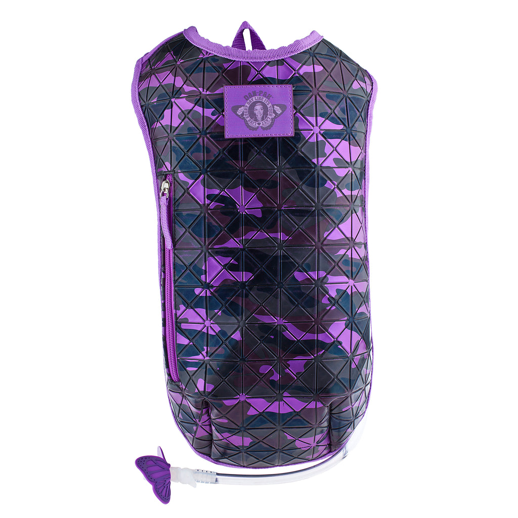 Campground Camo Purple - Dan-Pak hydration packs for raves music festivals camping hiking. Awesome gear for edm lifestyle. Hydro pack, water pack, dan-pack, dan pak, dan pack, danpakbags, dan pak bags, backpack, rave