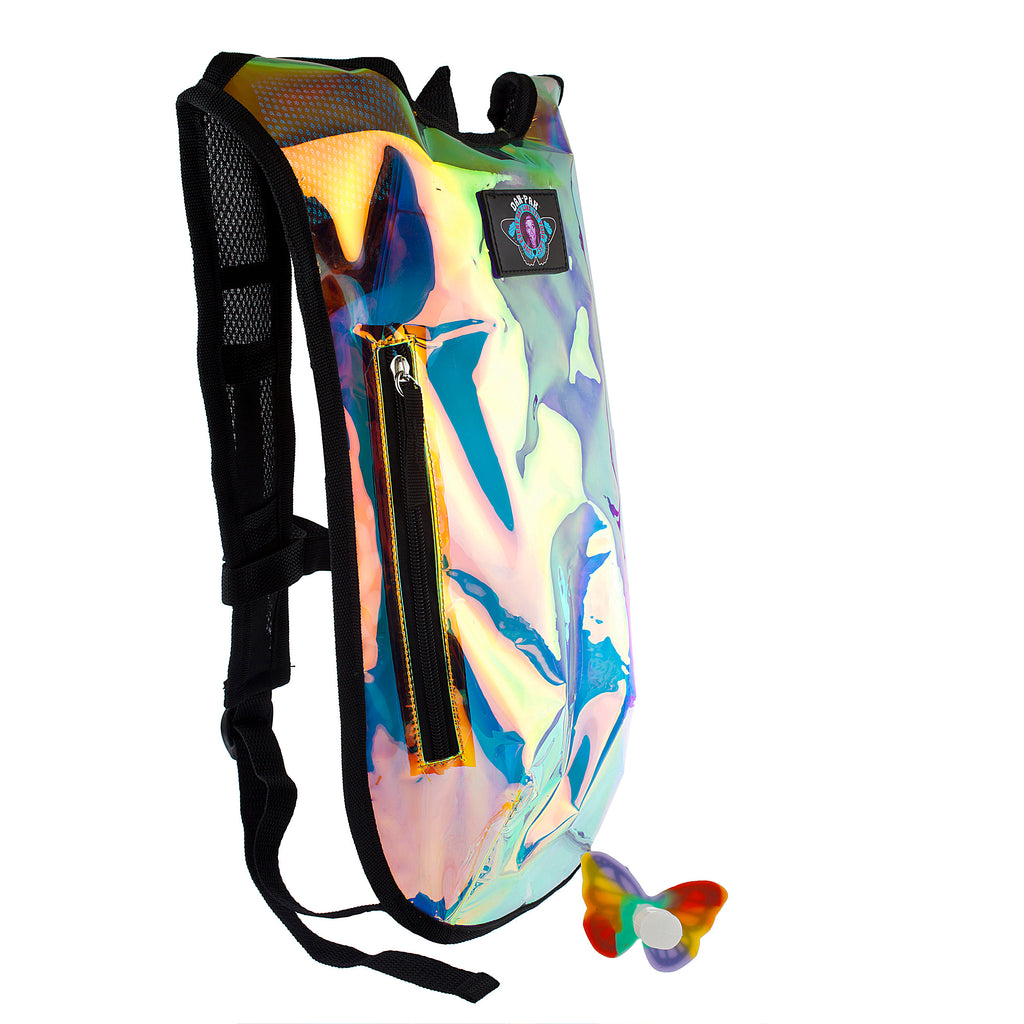 CLEAR HOLOGRAPHIC - Dan-Pak hydration packs for raves music festivals camping hiking. Awesome gear for edm lifestyle. Hydro pack, water pack, dan-pack, dan pak, dan pack, danpakbags, dan pak bags, backpack, rave