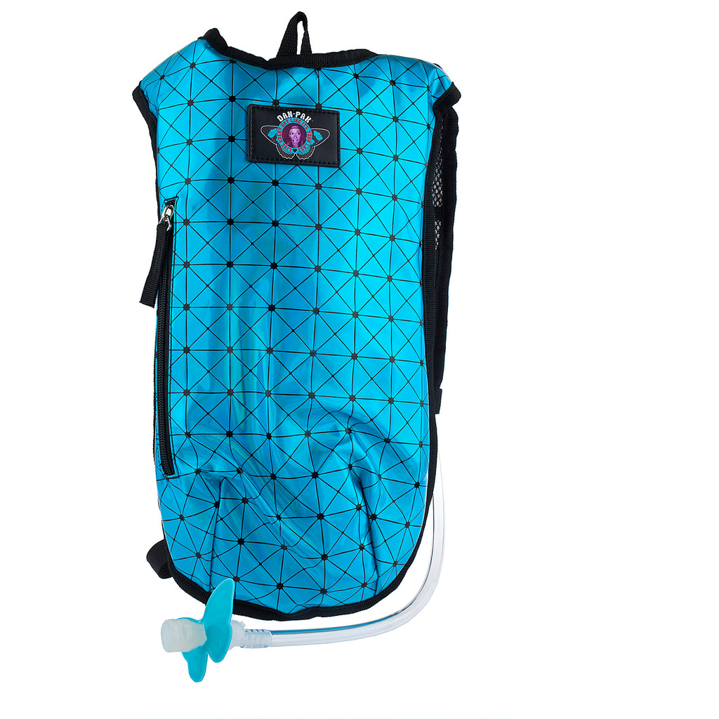 HOLOGRAPHIC TURQUOISE - Dan-Pak hydration packs for raves music festivals camping hiking. Awesome gear for edm lifestyle. Hydro pack, water pack, dan-pack, dan pak, dan pack, danpakbags, dan pak bags, backpack, rave