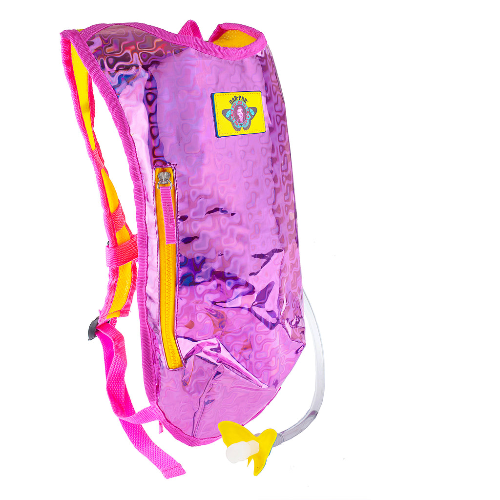 RETRO RAVER (PINK) - Dan-Pak hydration packs for raves music festivals camping hiking. Awesome gear for edm lifestyle. Hydro pack, water pack, dan-pack, dan pak, dan pack, danpakbags, dan pak bags, backpack, rave