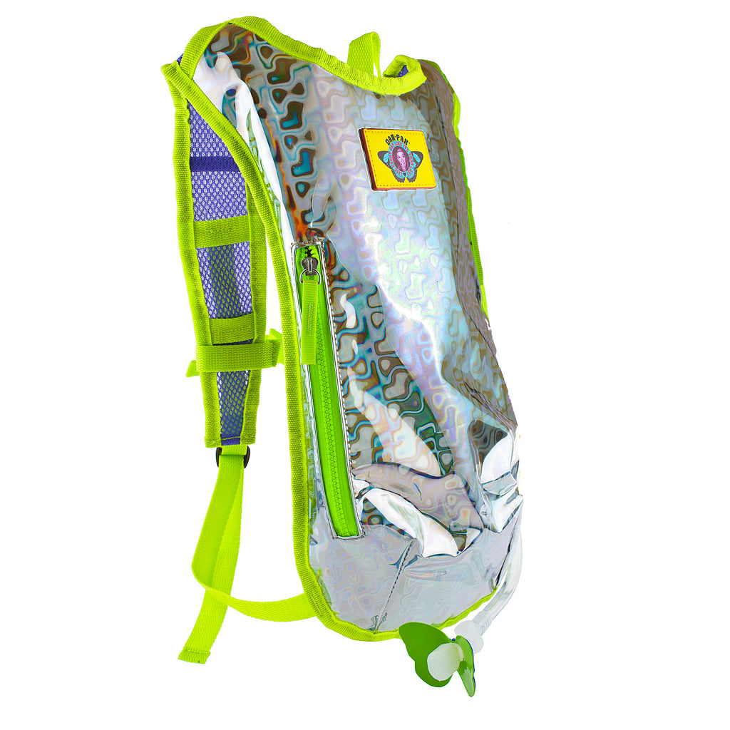 RETRO RAVER (SILVER) - Dan-Pak hydration packs for raves music festivals camping hiking. Awesome gear for edm lifestyle. Hydro pack, water pack, dan-pack, dan pak, dan pack, danpakbags, dan pak bags, backpack, rave