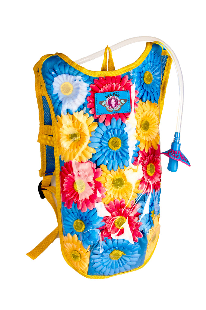 FLOWER CHILD - Dan-Pak hydration packs for raves music festivals camping hiking. Awesome gear for edm lifestyle. Hydro pack, water pack, dan-pack, dan pak, dan pack, danpakbags, dan pak bags, backpack, rave