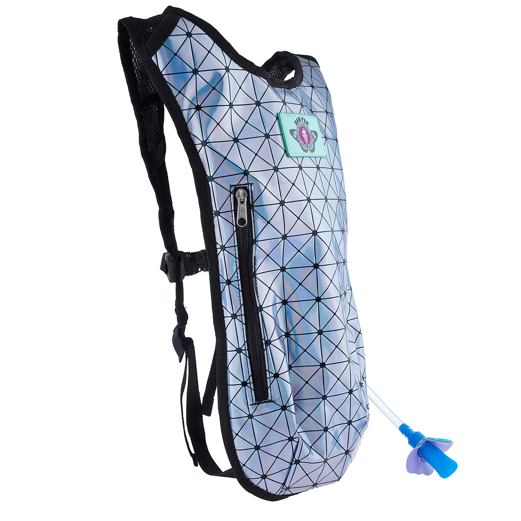 SMOKEY HOLOGRAPHIC - Dan-Pak hydration packs for raves music festivals camping hiking. Awesome gear for edm lifestyle. Hydro pack, water pack, dan-pack, dan pak, dan pack, danpakbags, dan pak bags, backpack, rave