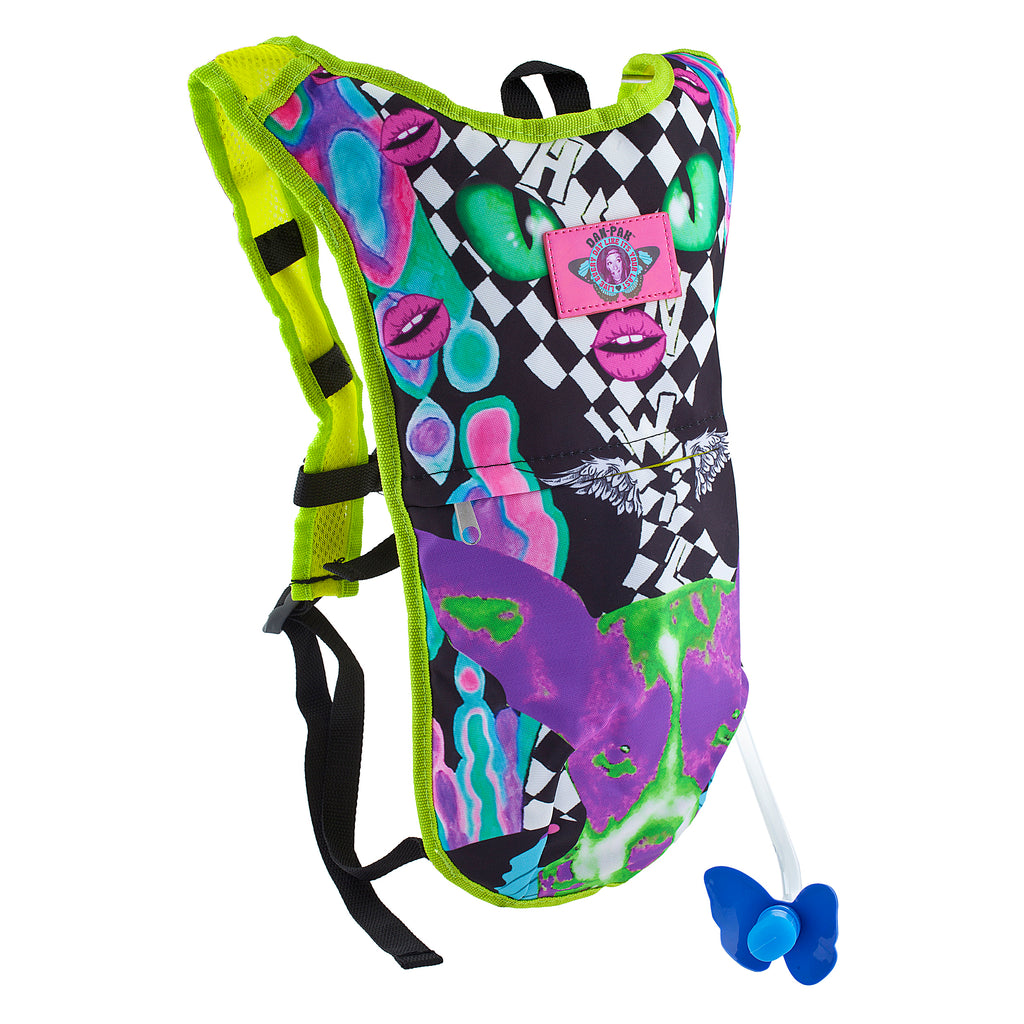 MELTY FACE - Dan-Pak hydration packs for raves music festivals camping hiking. Awesome gear for edm lifestyle. Hydro pack, water pack, dan-pack, dan pak, dan pack, danpakbags, dan pak bags, backpack, rave