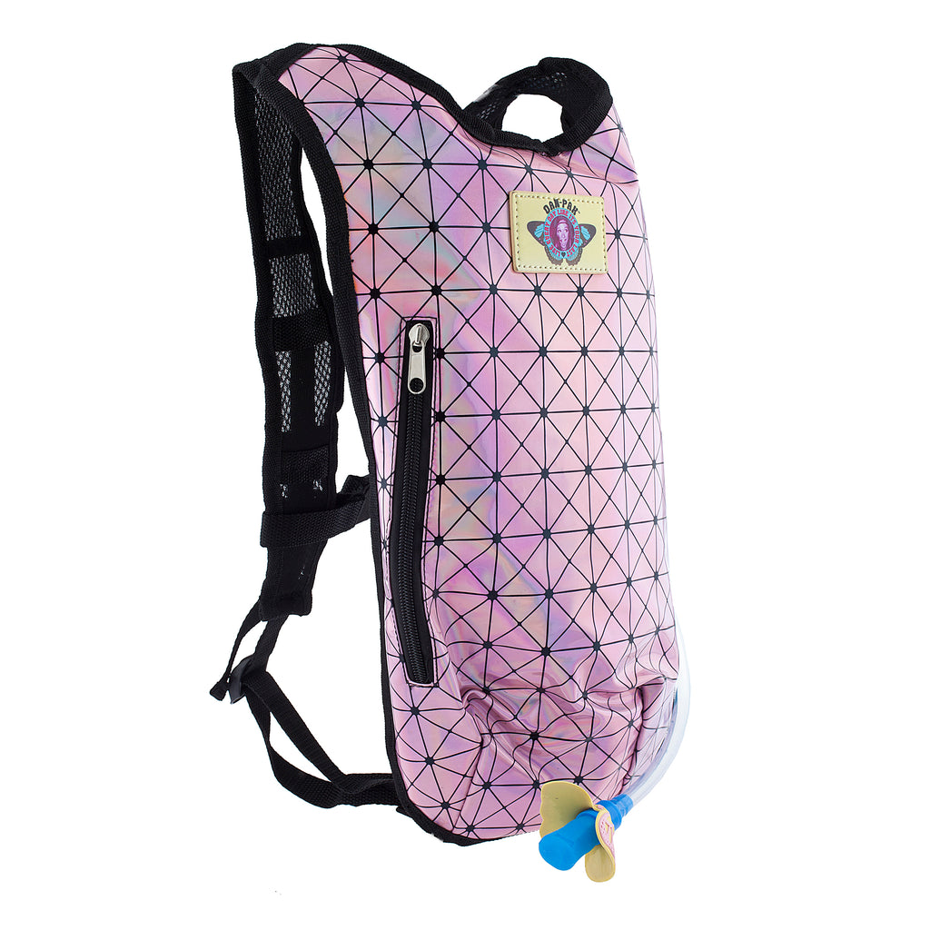 Baby Pink Holographic - Dan-Pak hydration packs for raves music festivals camping hiking. Awesome gear for edm lifestyle. Hydro pack, water pack, dan-pack, dan pak, dan pack, danpakbags, dan pak bags, backpack, rave