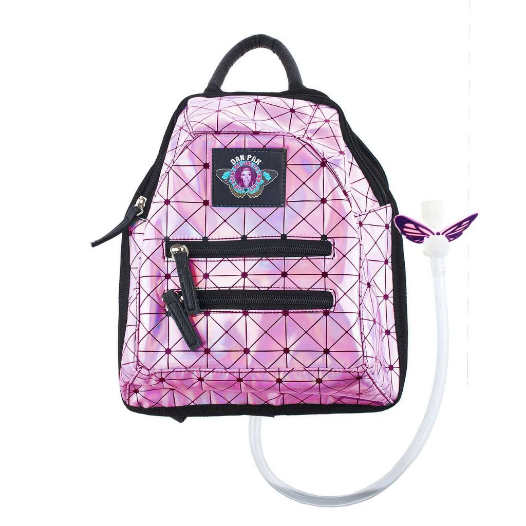 PINK HOLOGRAPHIC DISCO MINI - Dan-Pak hydration packs for raves music festivals camping hiking. Awesome gear for edm lifestyle. Hydro pack, water pack, dan-pack, dan pak, dan pack, danpakbags, dan pak bags, backpack, rave